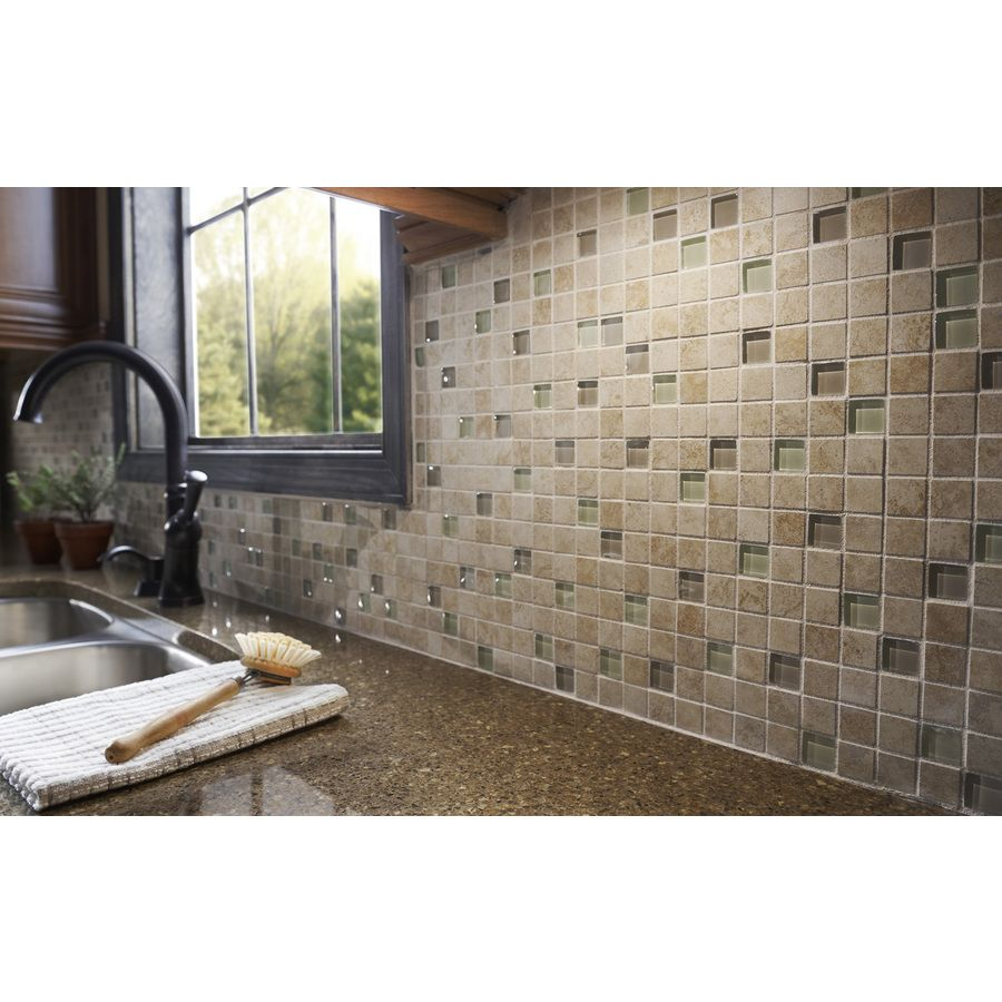 Allen roth glazed wall chocolate ceramic bullnose trim common 1 - Shop Gbi Tile Stone Inc Capri Classic Glazed Porcelain Mosaic Square Wall Tile