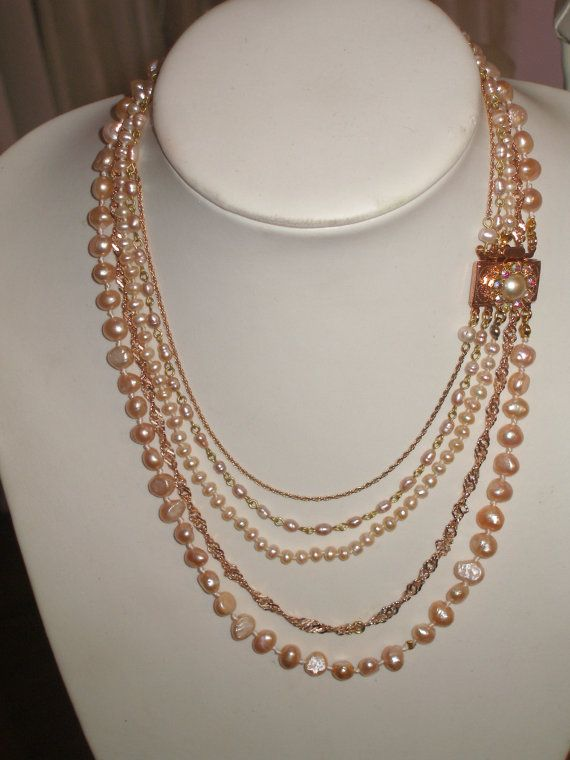 Bridal Pearls Necklace,Freshwater Pearls , Gold, Powder Pink , Rhinestone,Antique ,Vintage Wedding - Powder Collection