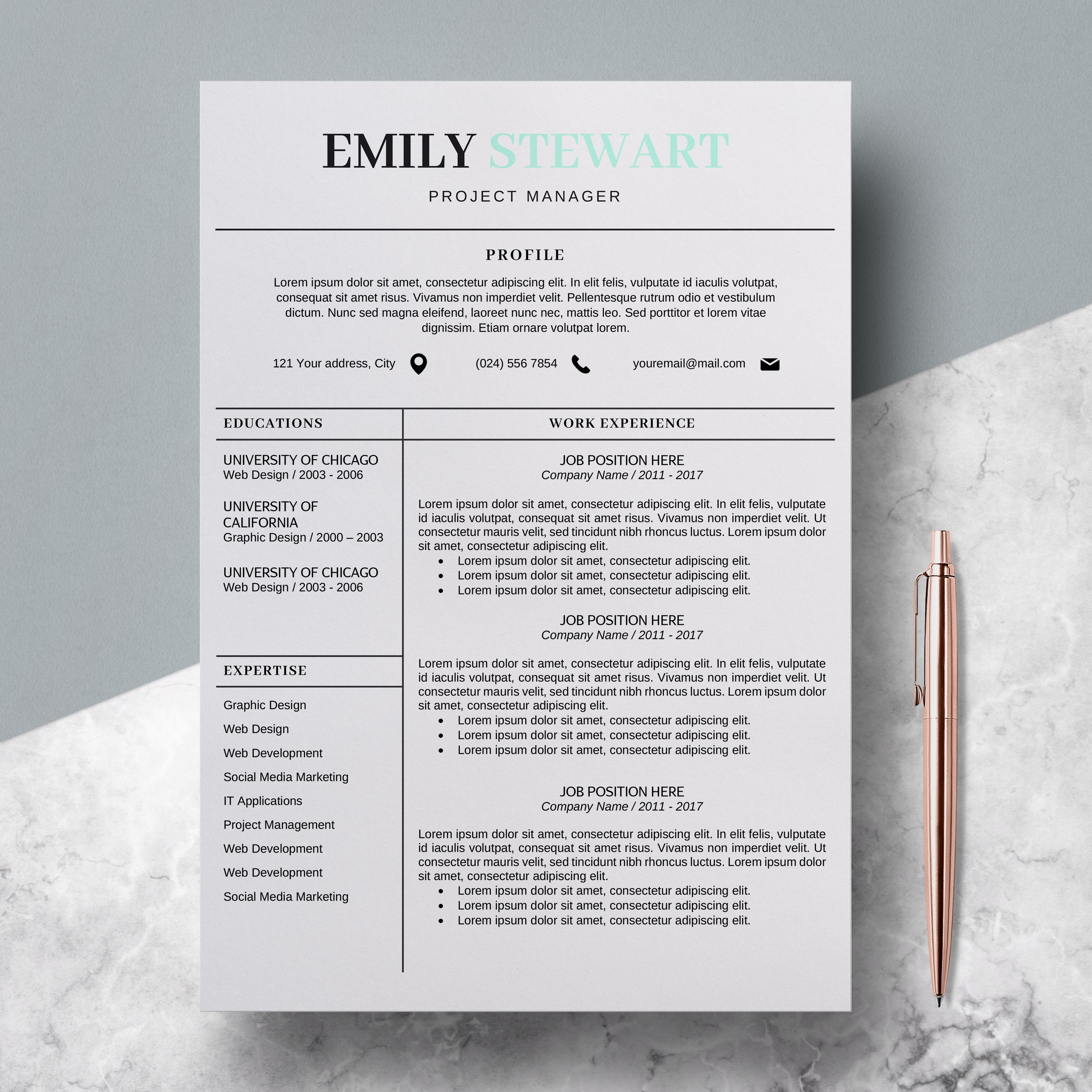 Modern Resume Template Resume Template Word Instant Download