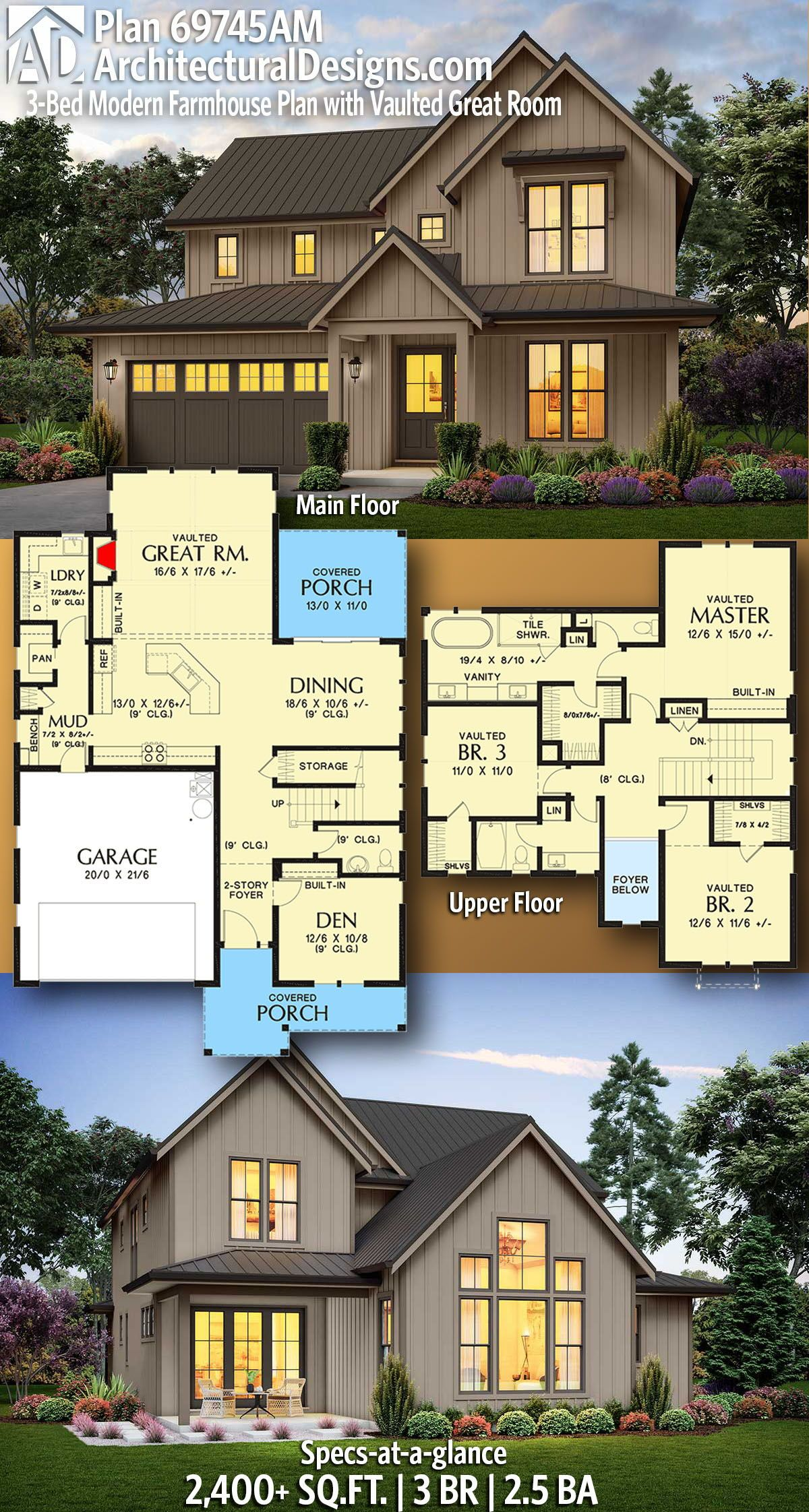 Plan 69745am 3 Bed Modern Farmhouse Plan With Vaulted Great Room Modern Farmhouse Plans Farmhouse Plans House Blueprints