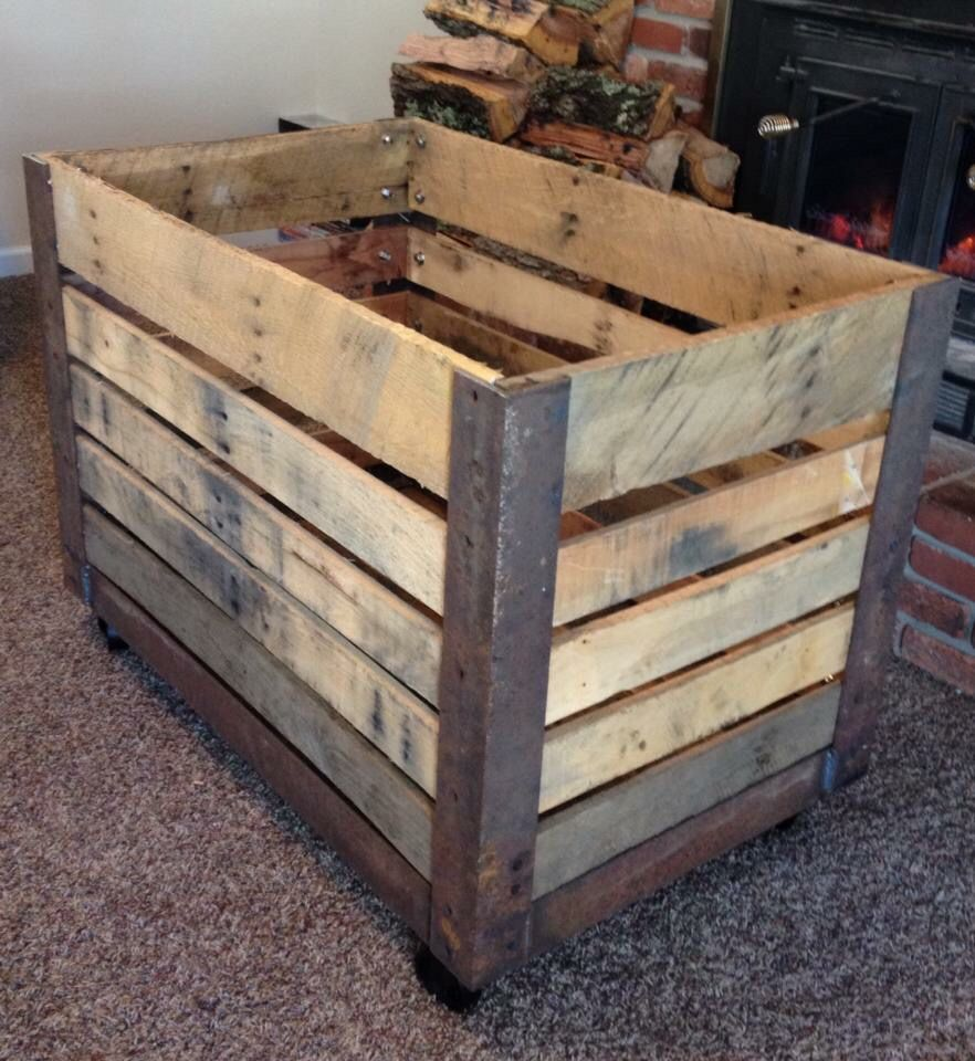 Pallet Rusty Reclaimed Steel Diy Firewood Cart Industrial Wood Stove Fireplace Wood Cart Wood Storage Box
