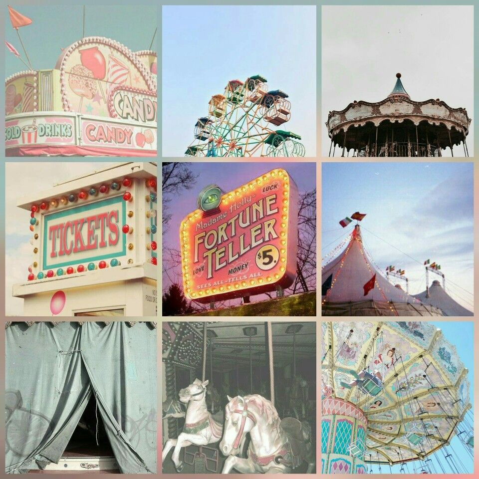 Retro Vintage Pastel Pink Nlue Green Carnival Games