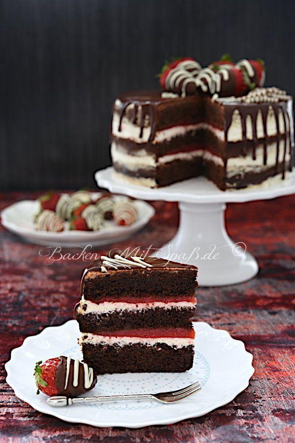 Erdbeer-Schoko-Torte mit Mascarpone-Creme #tortenrezepte