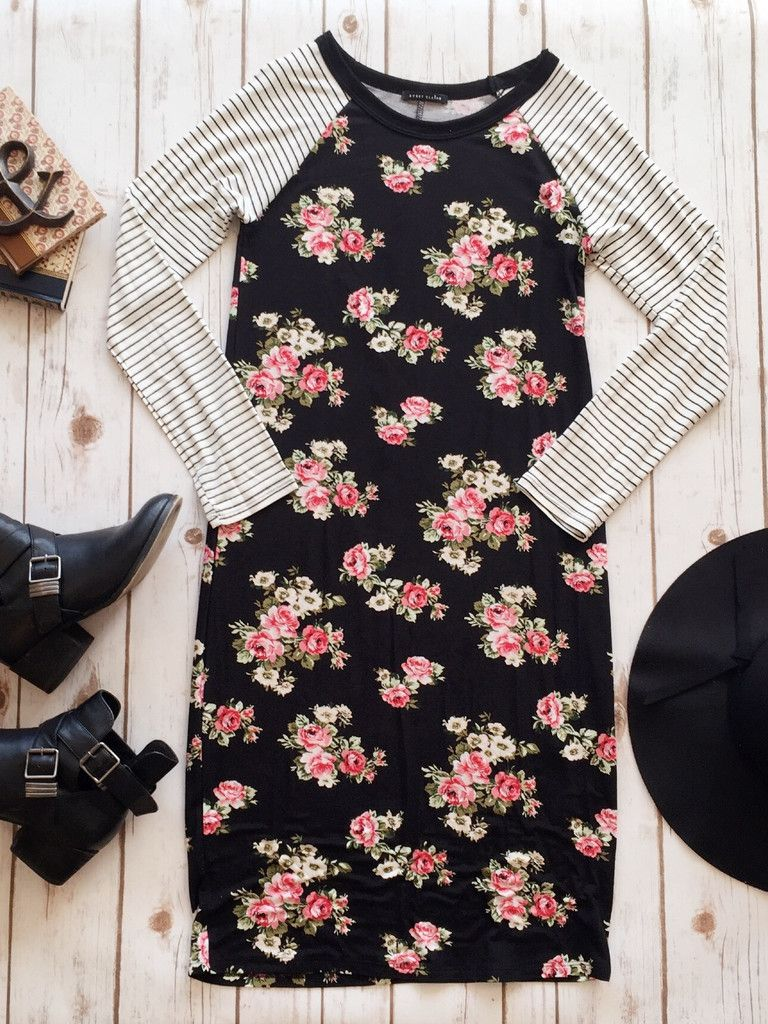 || Stripes and Florals Dress || - Seven & Co Boutique #sevenandcoboutique #stripesandflorals #stripeandfloraldress #bucklebooties #blackbucklebooties
