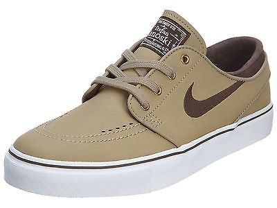 online store 22f72 554ad Nike SB Zoom Stefan Janoski Leather Mens 616490-220 Khaki Skate Shoes Size 8