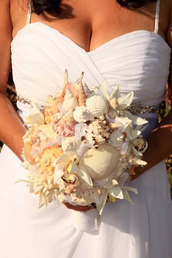 Wedding Stuff Hand Made Sea Shell Bouquet Great For By ShellMeGlassBoutique 25000