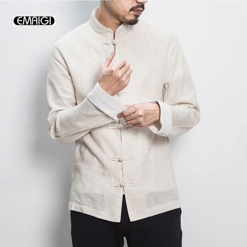 2017 New Spring China Style Men Shirt Cotton Linen Kungfu Casual Shirts Male Long Sleeve Shirt Large Size M-5XL