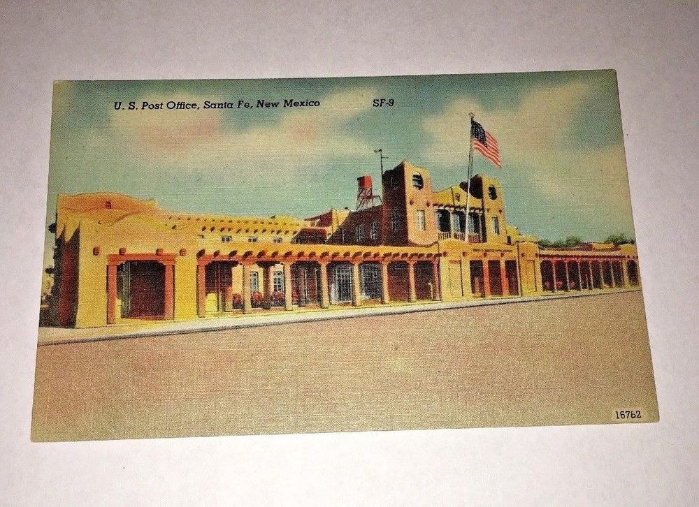 Santa Fe New Mexico Postcard U S Post Office Street View Linen C1940s Unused Postcard Postcards For Sale New Mexico