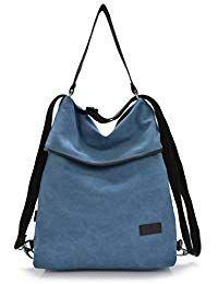 70727a8206f3f DcSpring Damen Handtasche Canvas Schultertasche Rucksack Tasche Stoff  Vintage Retro Umhängetasche Groß Shopper  taschen