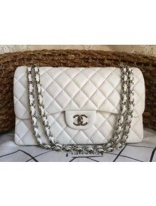 a9a7be189d5a Chanel Jumbo Lambskin Classic Double Flap Bag White(SHW) | [chanel ...
