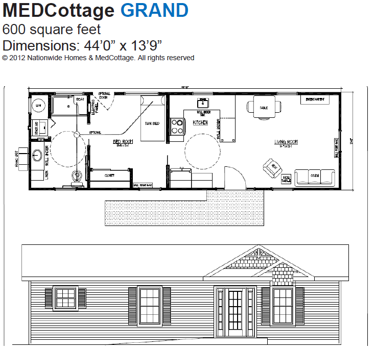 Medcottage grand floor plan tiny houses pinterest for Wheelchair accessible home plans