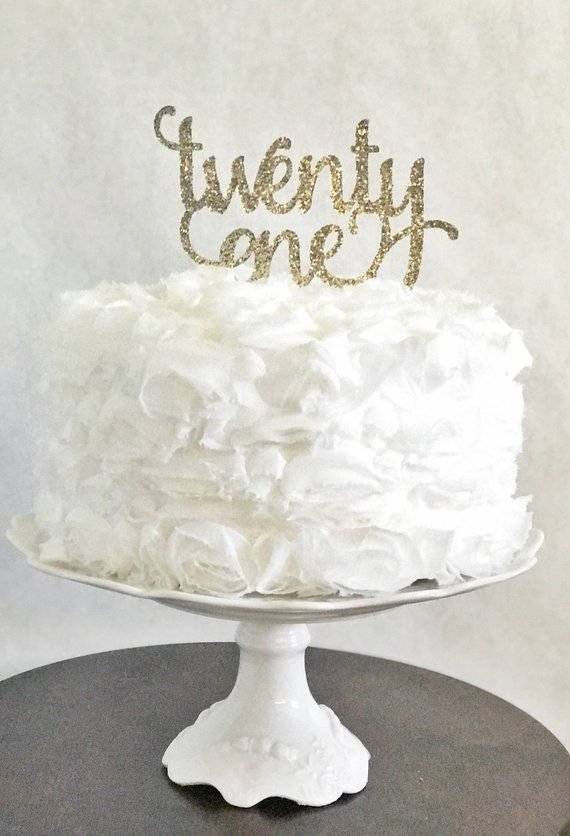 Twenty One Cake Topper Glitter Party Decorations Adult Birthday Anniversary 21st For He