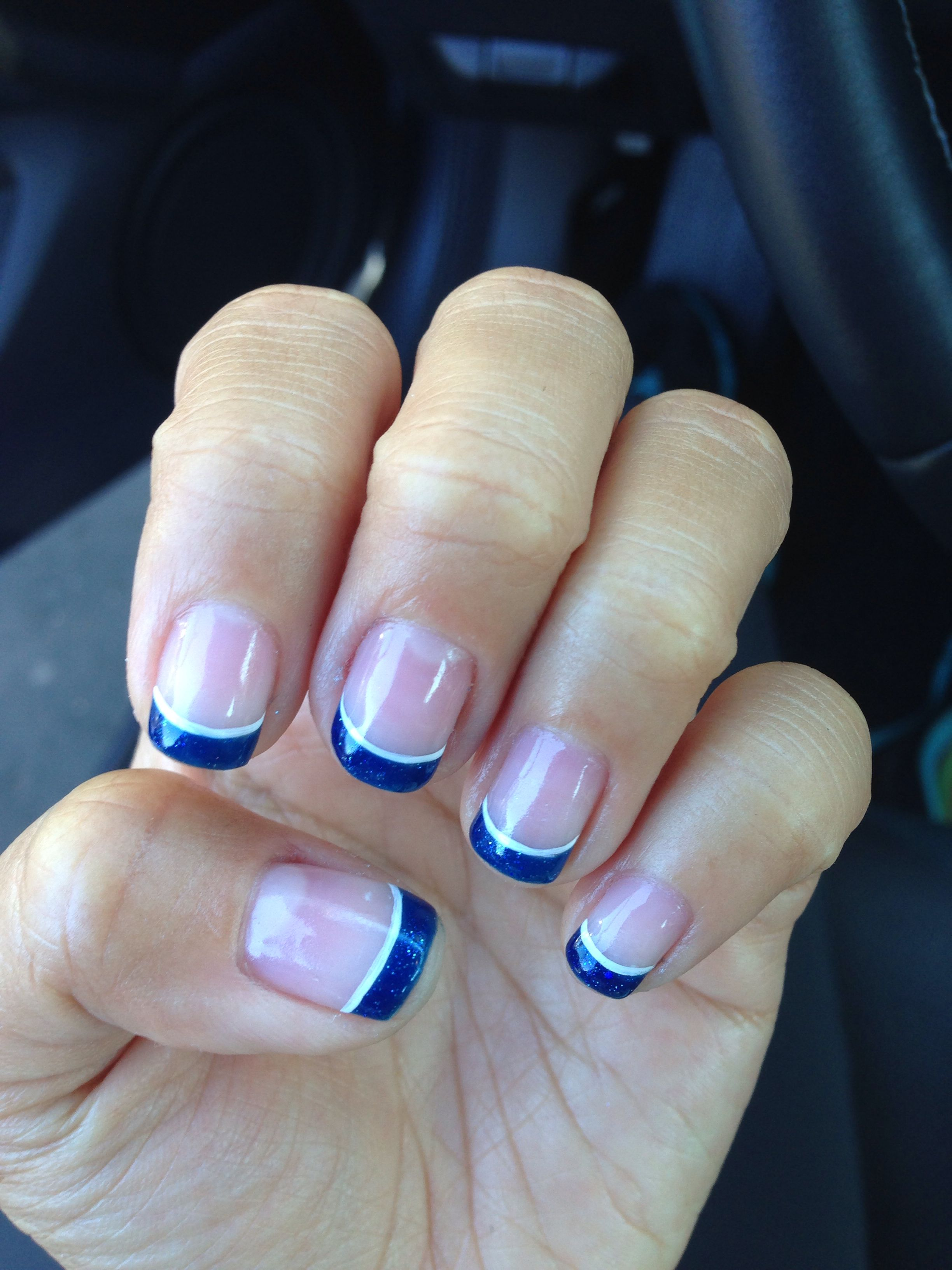 Glittery blue french tip gel nails | Mani Pedi | Pinterest | Mani ...