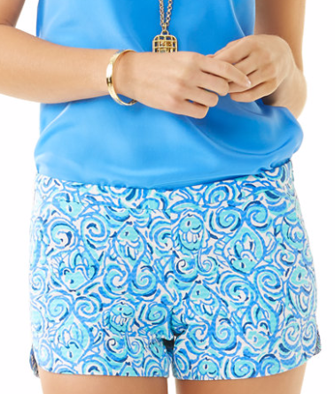 NEW Lilly Pulitzer CALLAHAN SHORT Multi Conch Republic Blue Pink Green Fish  2 4