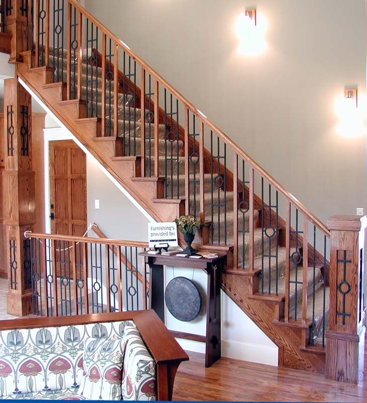 Wood And Rod Iron Stair Case