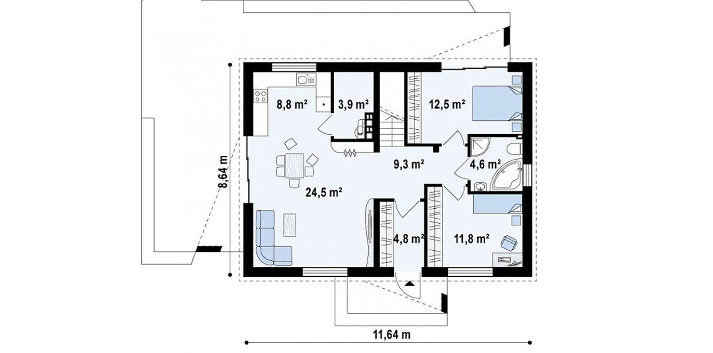 Home Design 8211 House 80m2 Plans House Design Tiny House Plans House Plans