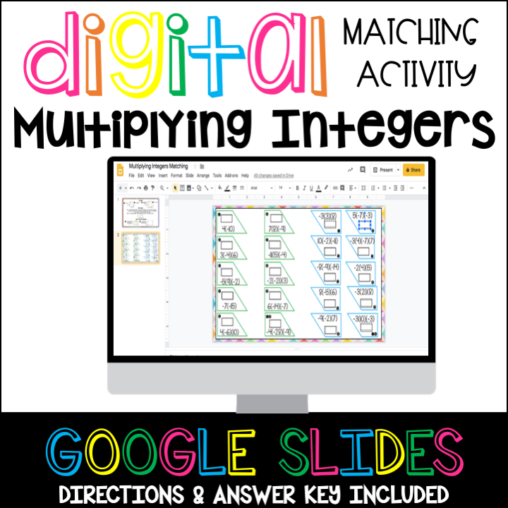 Multiplying Integers Matching Activity Digital Distance