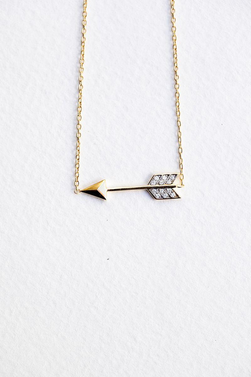India Hicks diamond and gold Arrow Pendant necklace