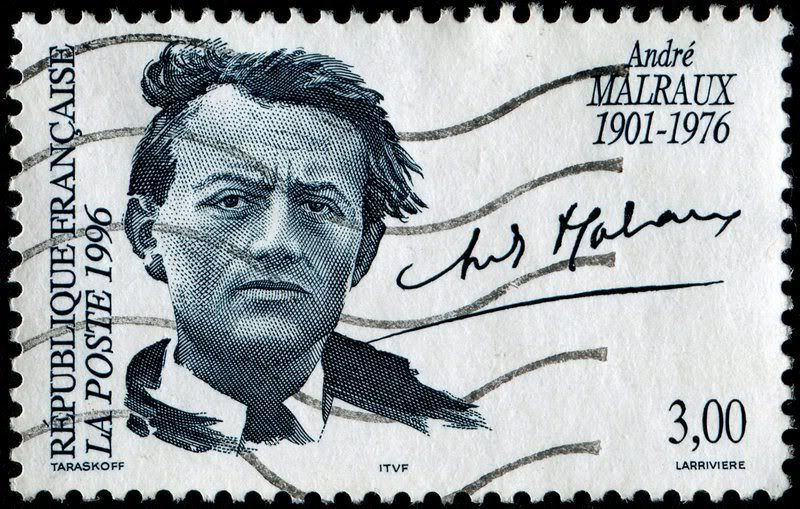 André Malraux (1901-1976).   Portrait of Malraux and his signature by Marc Taraskoff.  French stamp , circa 1996