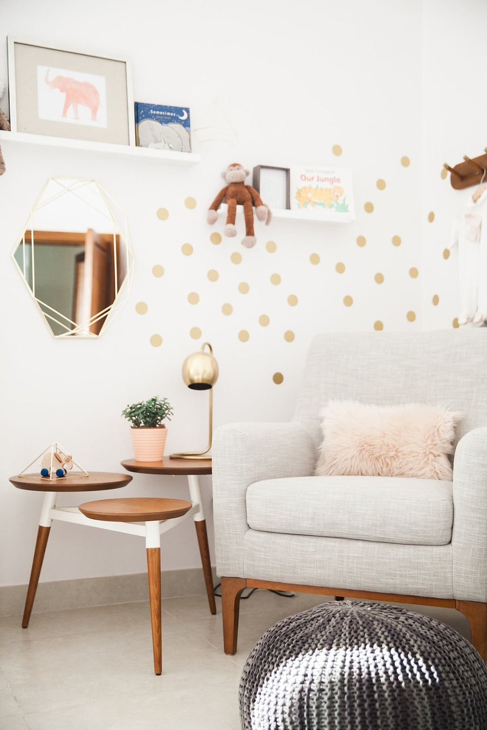 White Walls Serve As The Perfect Backdrop For This Modern Nursery With Creative Gold Accents And Furnitu Timeless Furniture Furniture Living Room Inspiration