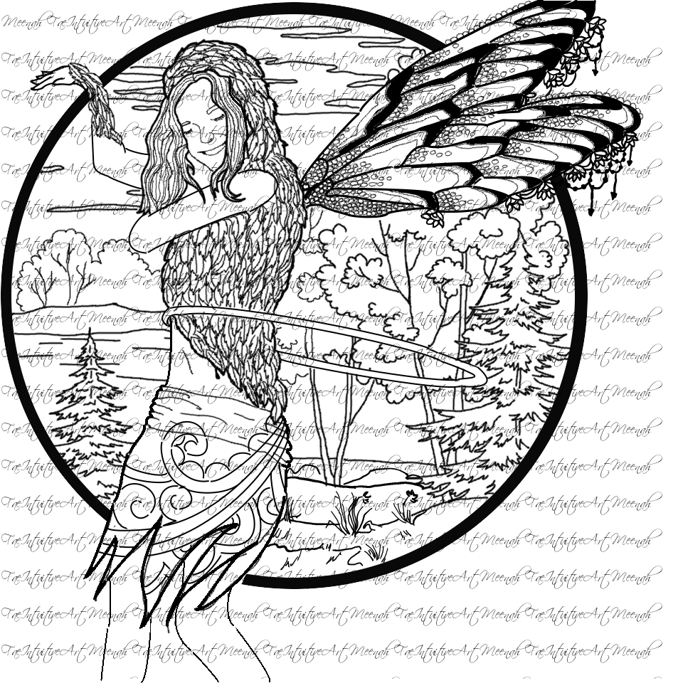 fiary coloring pages Forest Faerie Fiary Hula Hoop Coloring Sheet Flowarts Flow Therapy  fiary coloring pages