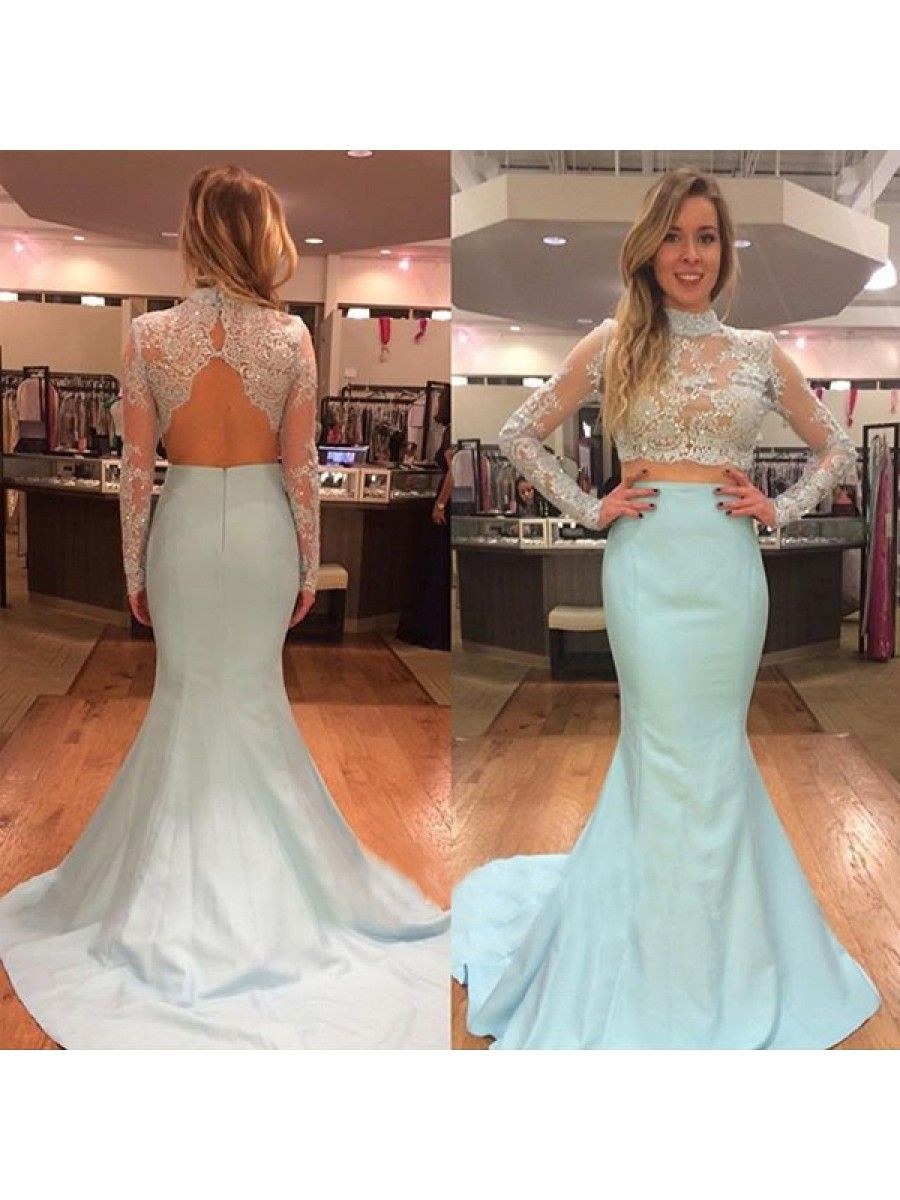 Long sleeves two pieces mermaid beaded lace prom evening party