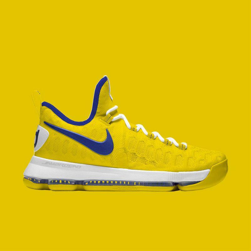 big sale e8b4b 3dc25 KD 9 Official ID Flyknit Warriors Away Yellow Blue   shoes ...