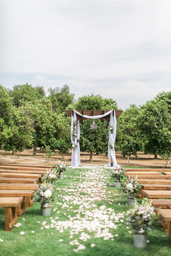 Outdoor Wedding Ceremony Decor Idea Wooden Benches With