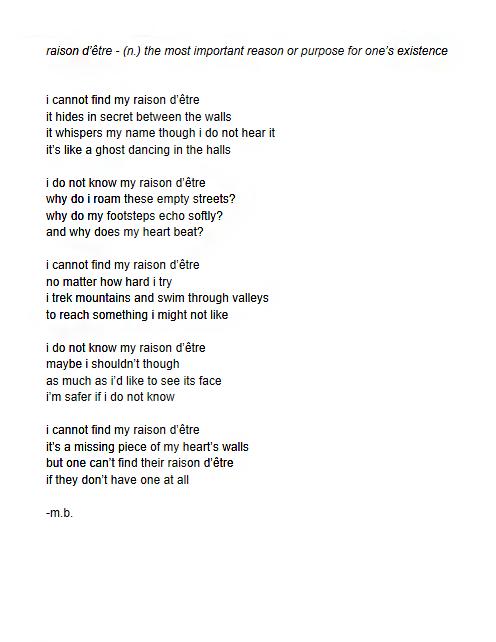 free form poem  poetry mila bales m.b. Raison Detre poem 5 line free form ...