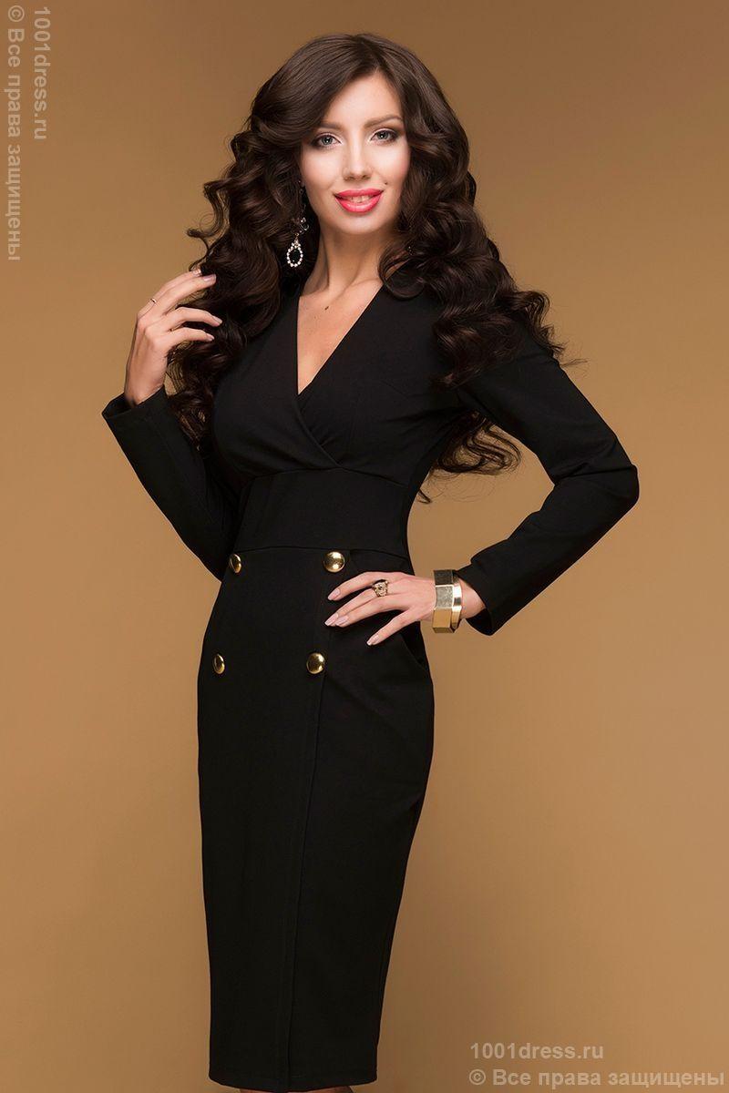 4857161de701 Недорогое черное платье-футляр с длинным рукавом и крупными ...