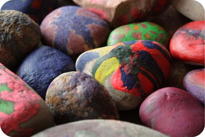 hot rocks . . . painting with wax on rocks