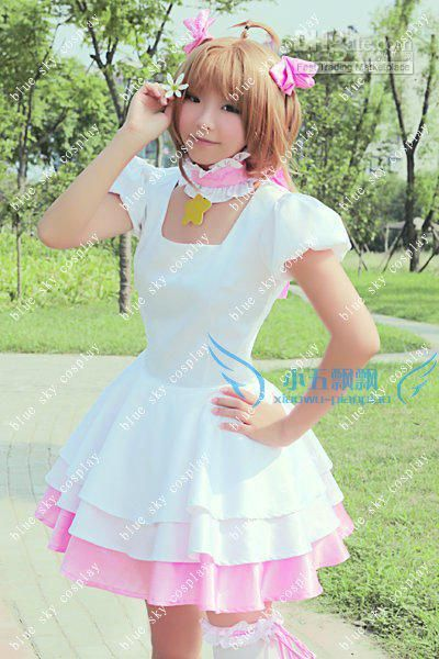 Card Captor Sakura white Cosplay Costume Custom any size japanese Anime  Maid Fancy Dress for Halloween