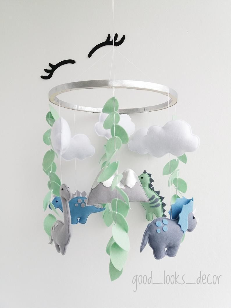 Photo of Dinosaur mobile. Baby boy mobile with jungle. Nursery mobile from felt. Hanging mobile for crib, cot. Dino baby mobile kit. Nature mobile
