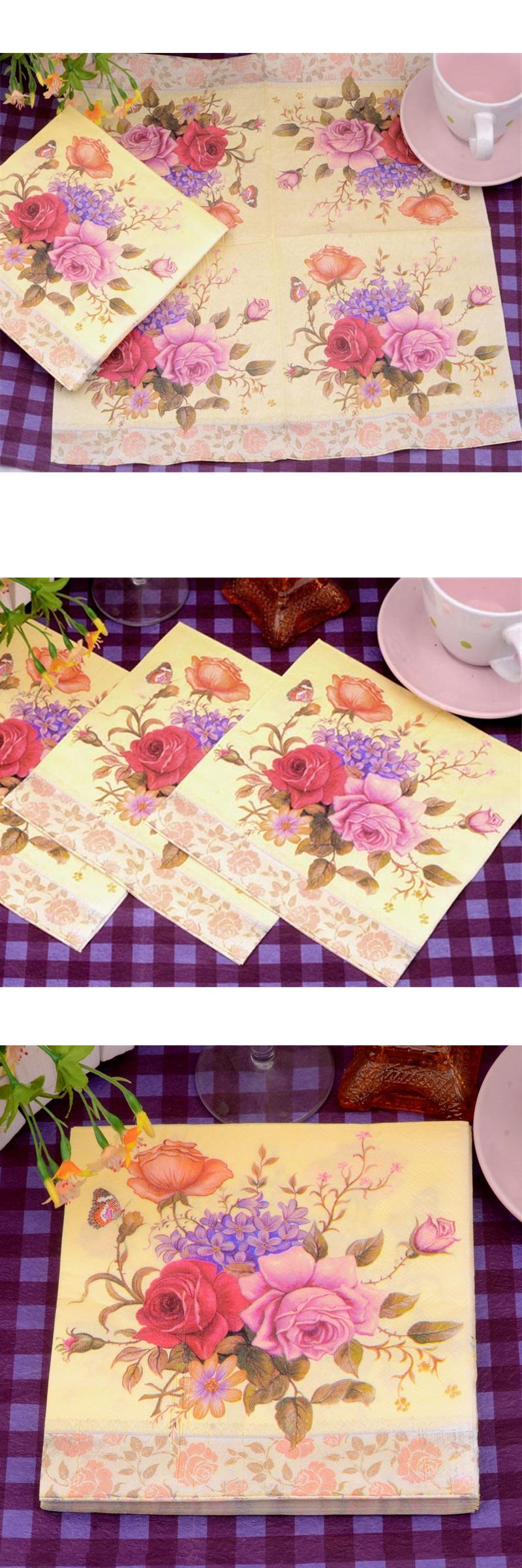Wedding decorations paper  Visit to Buy HAOCHU pcs Rose Flower Print Tissue Paper Decoupage
