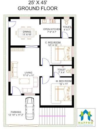 Image result for 2 bhk floor plans of 25 45 villas for Indian home map plan