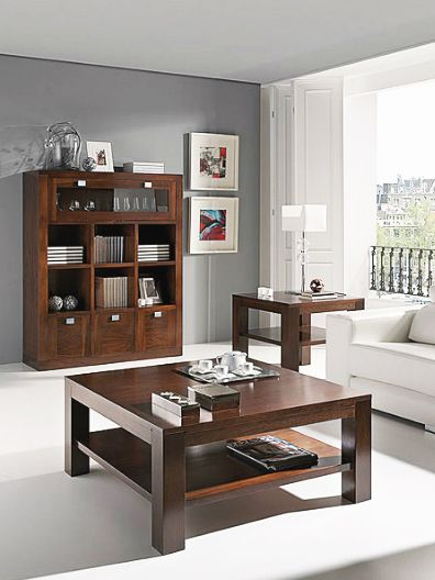 Librería Estantería Con Minibar Realizada En Madera De Nogal Americano Y Con 3 Mesas De Sala Modernas Decoracion De Interiores Salones Muebles Para El Hogar