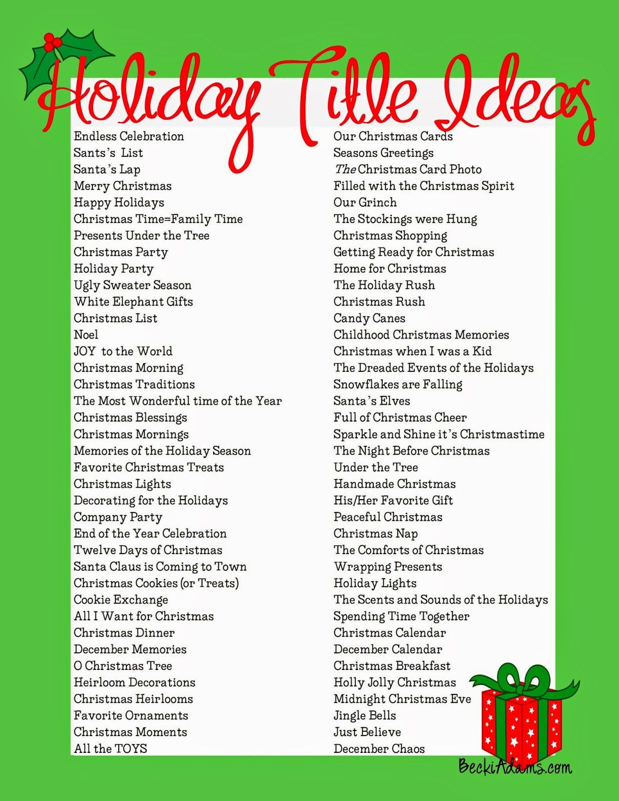 76 Holiday Page Title Ideas Scrapbook titles, Christmas