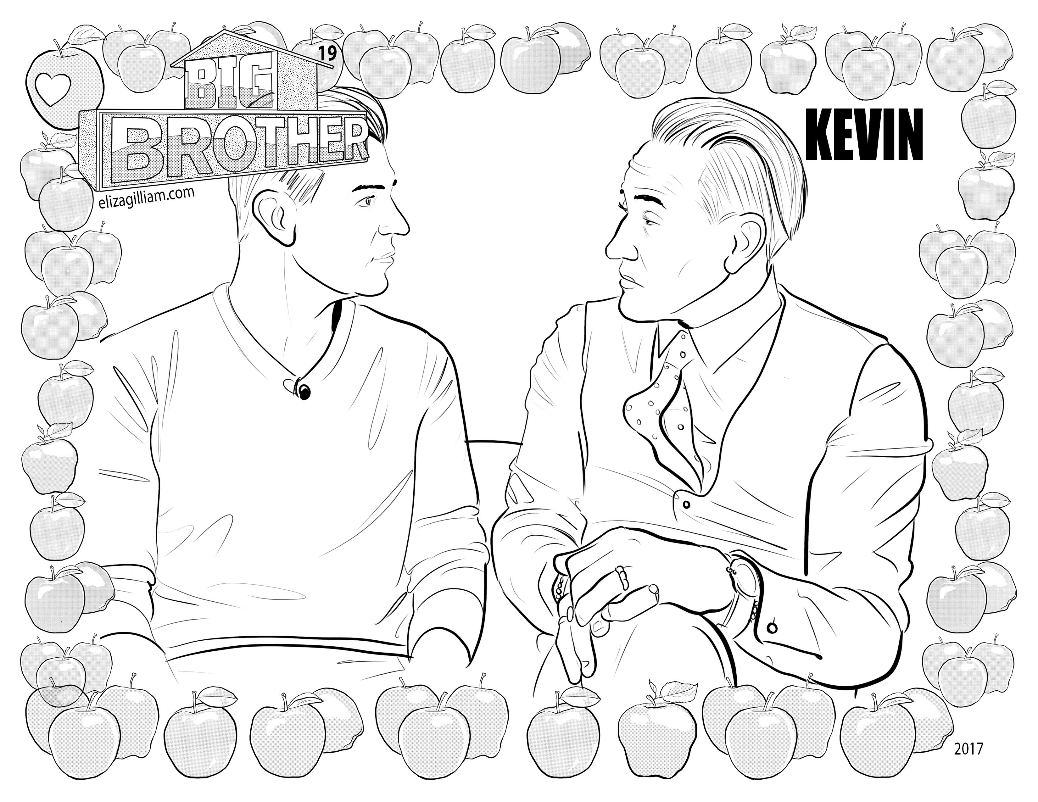 cbs big brother 19 house guest kevin schlehuber coloring page for