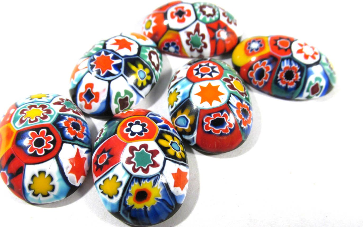 Murano Millefiori Cabochons 18mm x 25mm VINTAGE Cabochons Six (6) Oval Mosaic Cabochons Venetian Glass Jewelry Mosaic Supplies (A61) by punksrus on Etsy