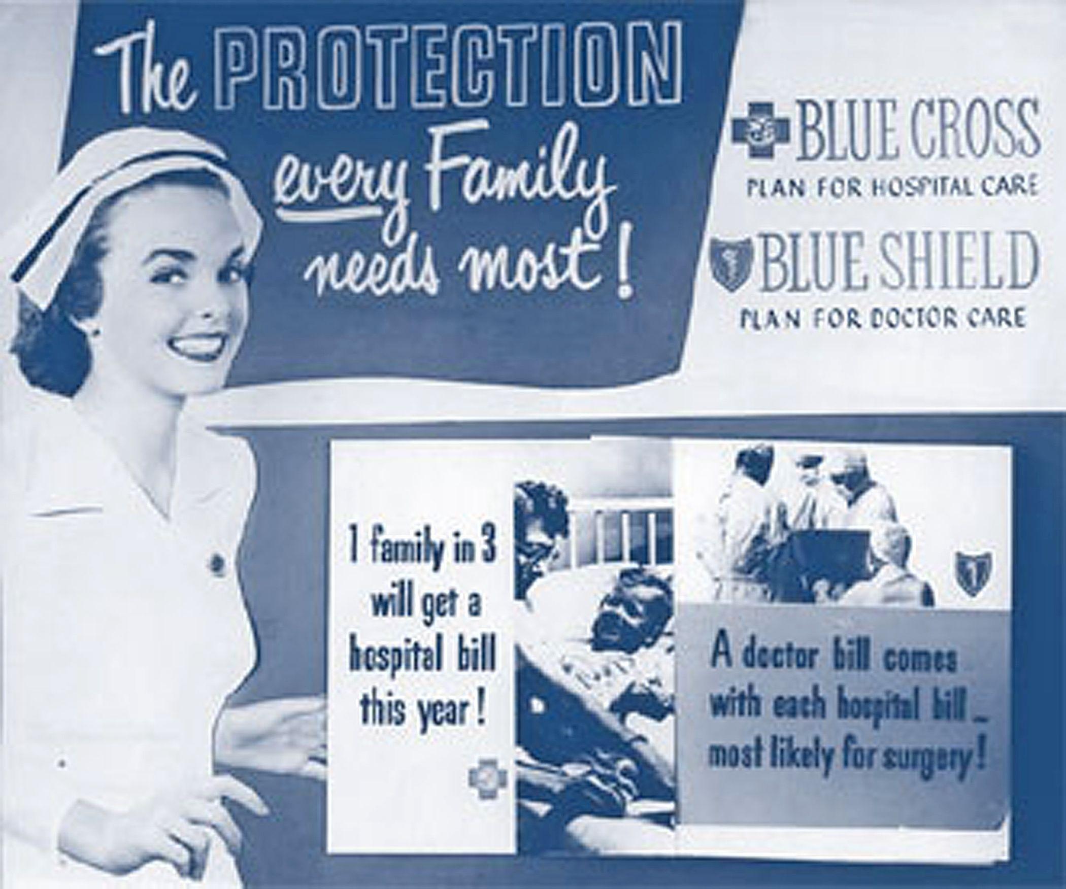 1940s blue cross blue shield advertisement doctor care