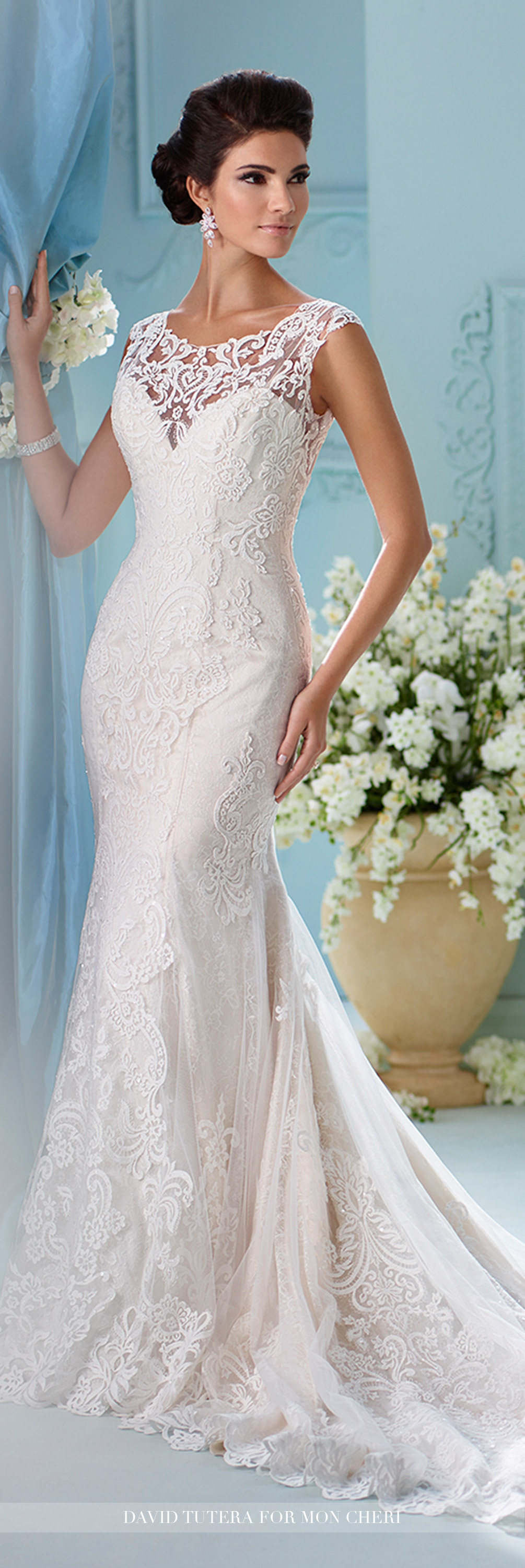 Fit and flare lace wedding dress  Lace Fit u Flare Plunging Sweetheart Neckline Wedding Dress