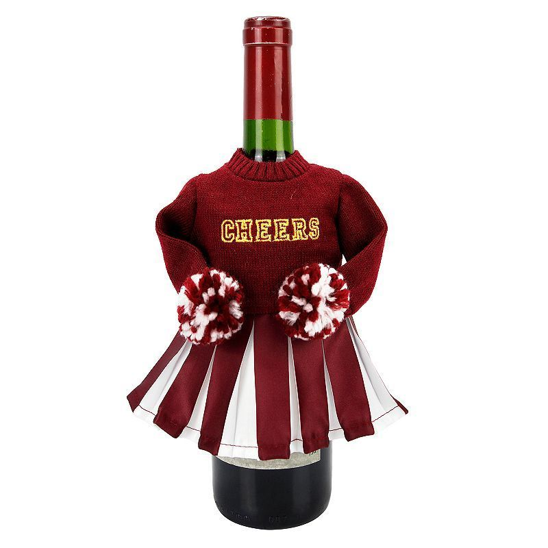 Celebrate Fall Together Cheerleader Wine Bottle Cover, Red