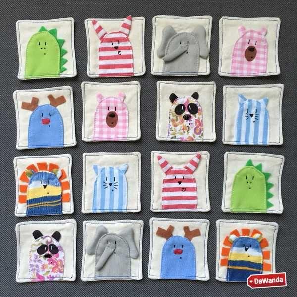 Gioco memory in stoffa handmade: cucito e ricamato a mano, per giochi a tutto handmade - http://it.dawanda.com/product/98027667-memory-animali