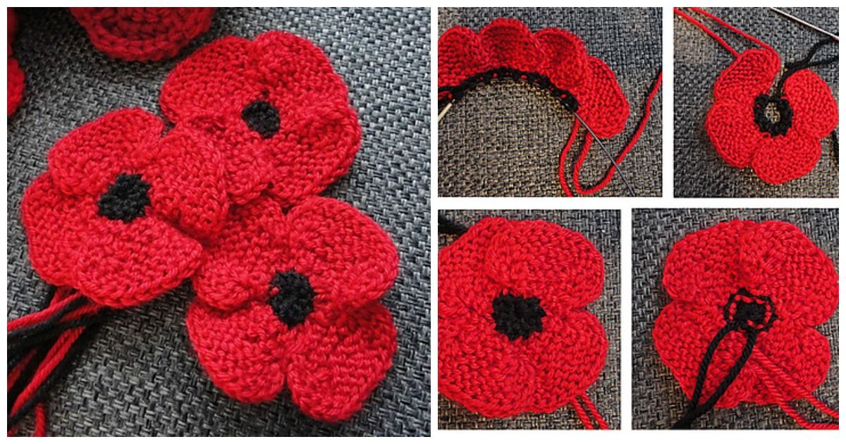 Poppy Flower Free Knitting Pattern (With images ...