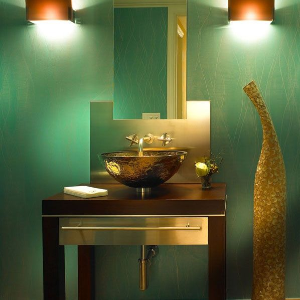Gold bathrooms   Green and gold bathroom   Bathrooms   Ideas for the ...