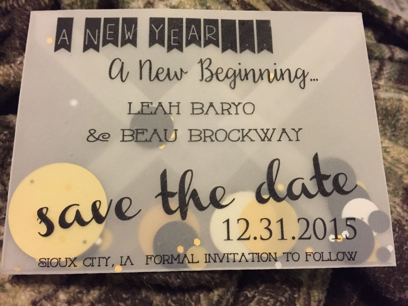 New Year's Eve confetti save the date New years wedding