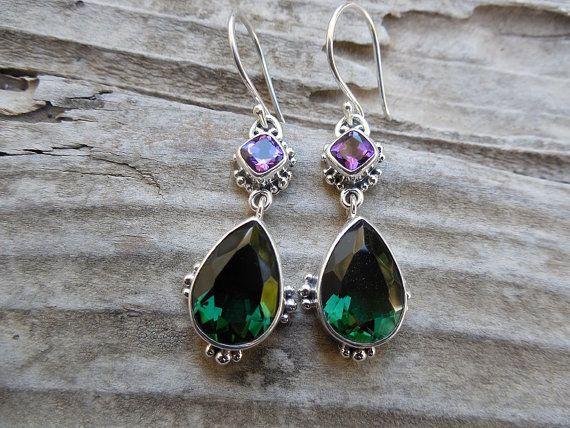 Beautiful green and purple amethyst earrings handmade by Billyrebs, $120.00