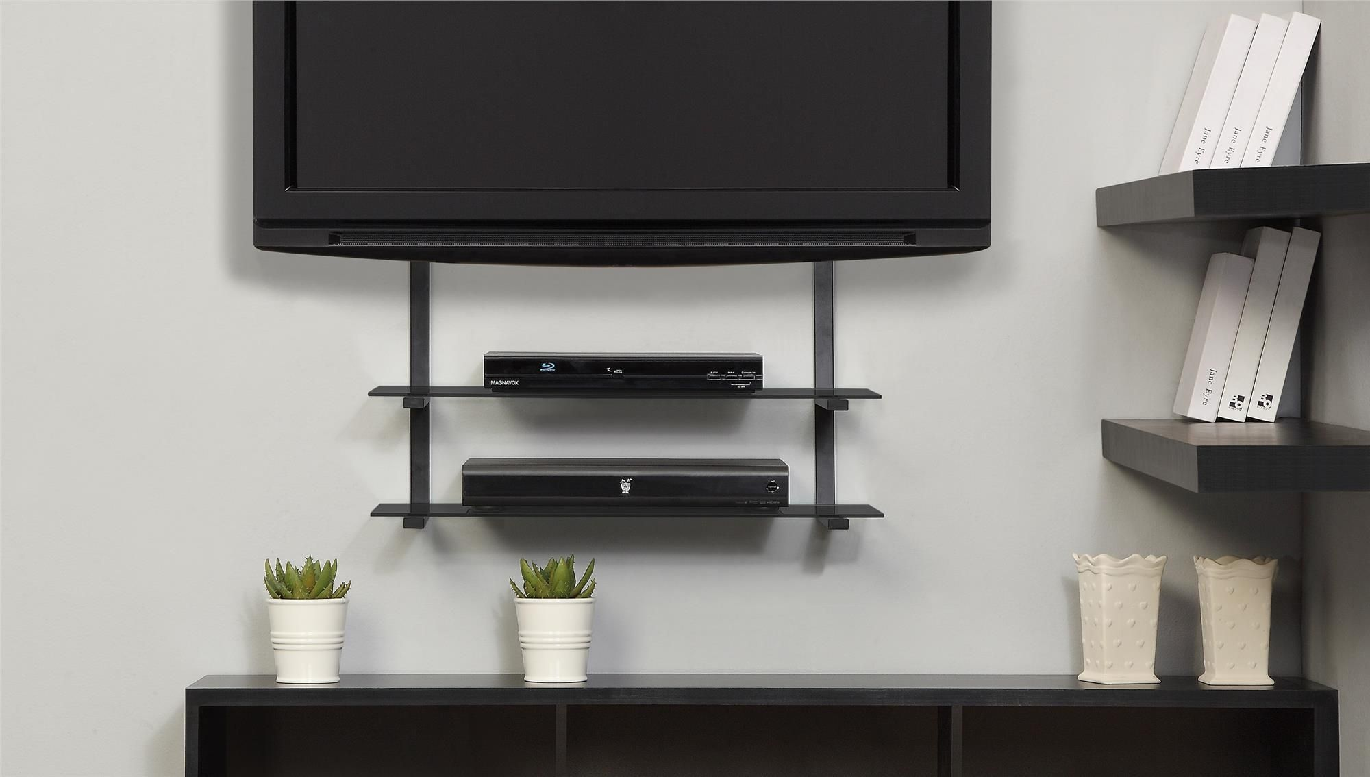 Tv Swivel Wall Mount With Shelf For Cable Box Wall Mounted Tv