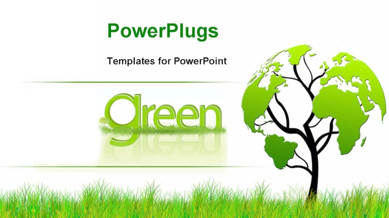 foliage world map free powerpoint templates environment