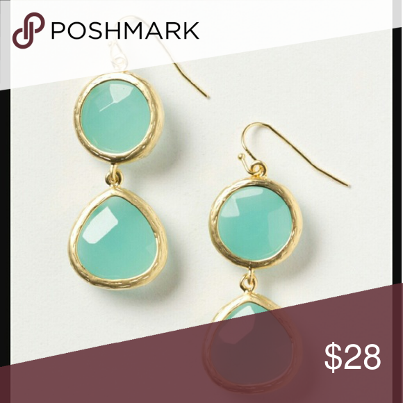 """🆕Anthropologie✨Moonlit Orb Drops Old school anthro and brand new! Love these!  Metal, brass, raw jade.  1.75""""L, 0.75""""W. Made in USA  Ships next day!💌 Anthropologie Jewelry Earrings"""